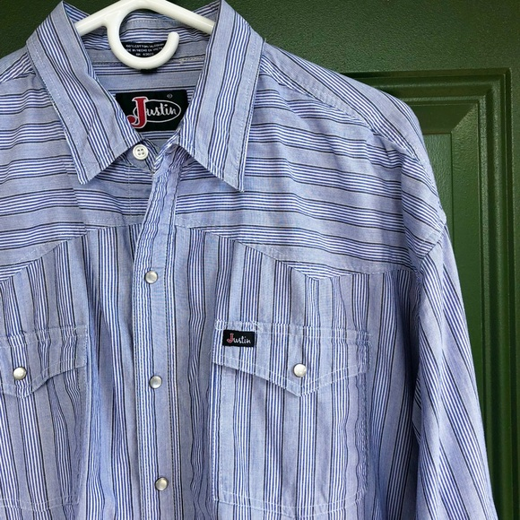 Justin Other - Vintage Striped Justin Pearl Snap Western Shirt